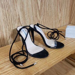 Steve Madden Lyla rope wrap black suede heels